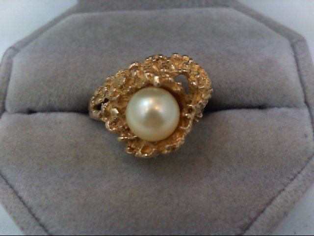 Pearl Lady's Stone Ring 14K Yellow Gold 5.9g