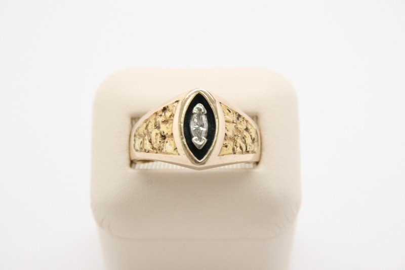 GENTS NUGGET STYLE RING W/ MARQUISE DIAMOND 14K/22K YELLOW GOLD