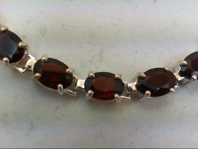 Almandite Garnet Silver-Stone Bracelet 925 Silver 13.4g