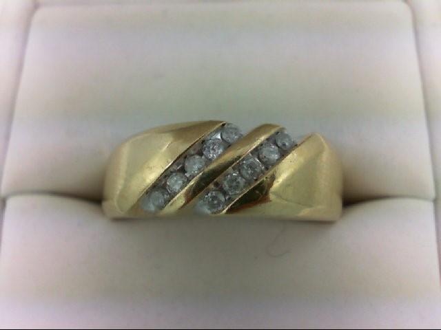 Gent's Gold-Diamond Wedding Band 10 Diamonds 0.3 Carat T.W. 10K Yellow Gold 5.9g