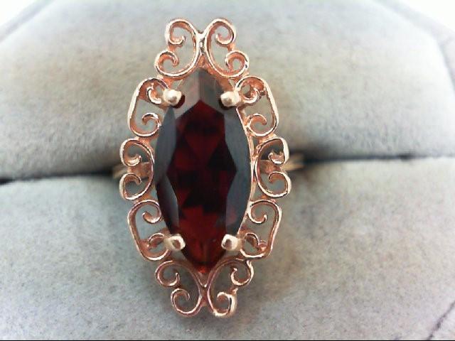Almandite Garnet Lady's Stone Ring 14K Rose Gold 4.2g