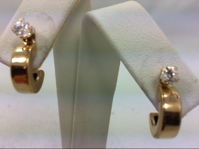 Synthetic Cubic Zirconia Gold-Stone Earrings 14K Yellow Gold 1.7g