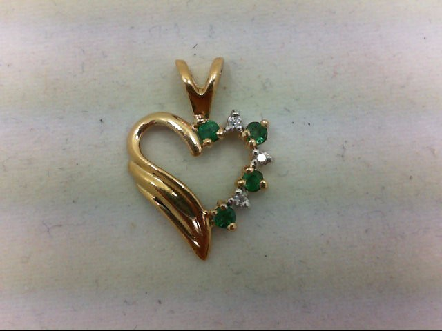 Emerald Gold-Diamond & Stone Pendant 3 Diamonds 0.03 Carat T.W. 14K Yellow Gold