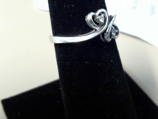 Lady's Diamond Fashion Ring 2 Diamonds .02 Carat T.W. 10K White Gold 1dwt