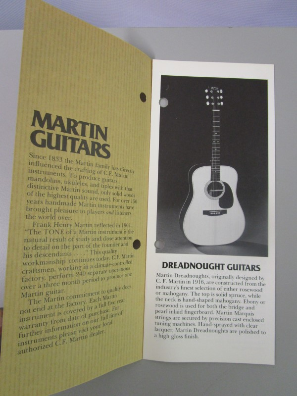 THE MARTIN GUITAR COMPANY PRODUCT BROCHURE, 1980S, EXCELLENT CONDITION