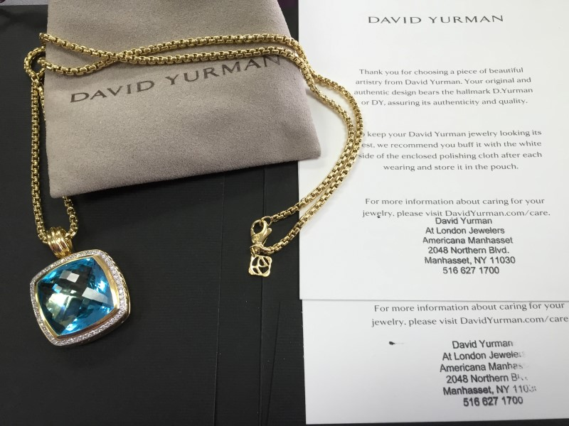 David Yurman Albion Pendant Blue Topaz & Diamonds 18K Gold w/ Chain