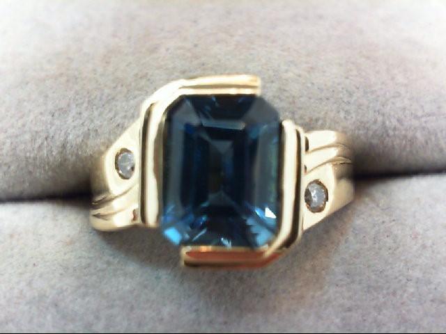 Blue Topaz Lady's Stone & Diamond Ring 2 Diamonds .04 Carat T.W.
