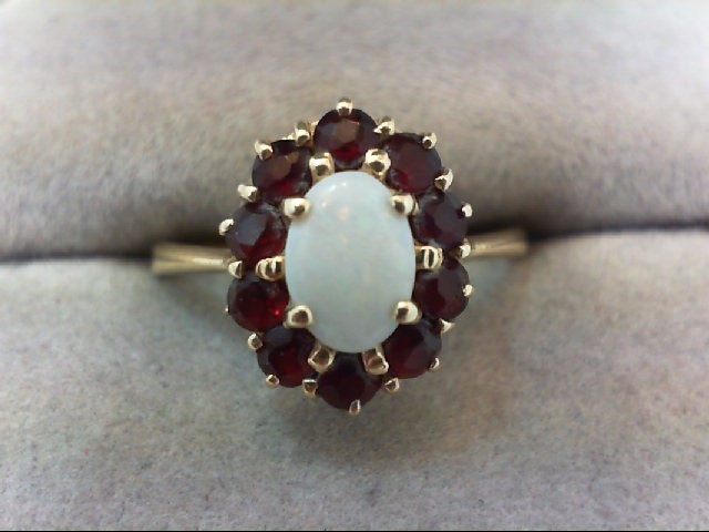 Almandite Garnet Lady's Stone Ring 14K Yellow Gold 2.5g