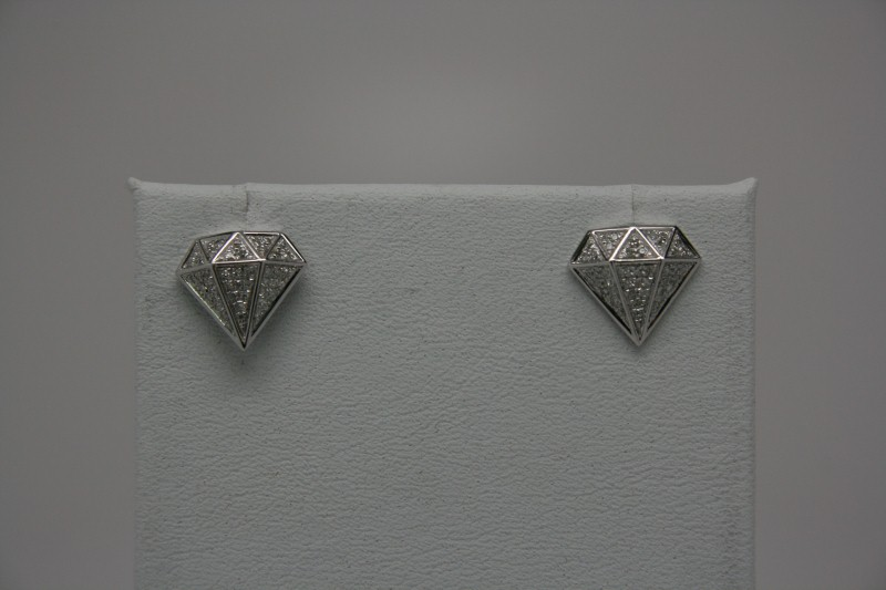 CROWN DIAMOND EARRINGS 14K WG