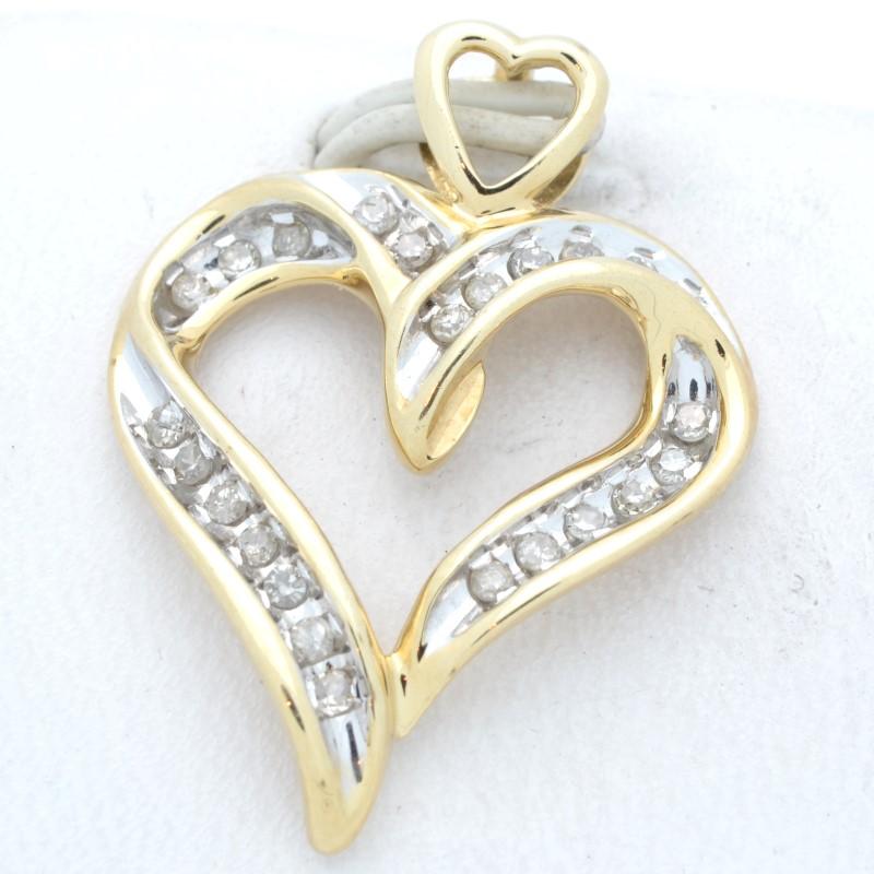 ESTATE DIAMOND HEART PENDANT CHARM SOLID 10K YELLOW GOLD LOVE OPEN