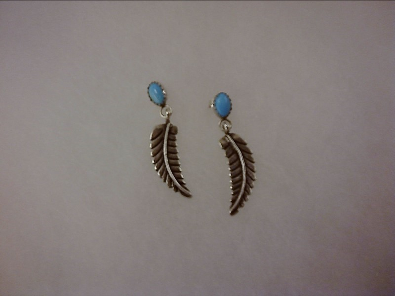 Turquoise Silver Feather Earrings 925 Silver 2.32dwt