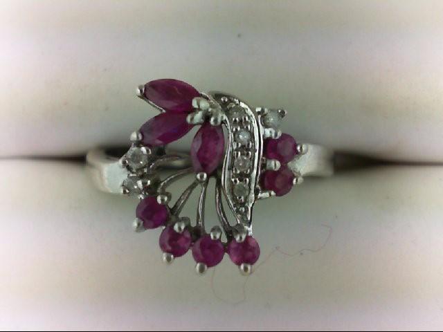 Ruby Lady's Silver-Diamond & Stone Ring 3 Diamonds 0.03 Carat T.W. 925 Silver 2.