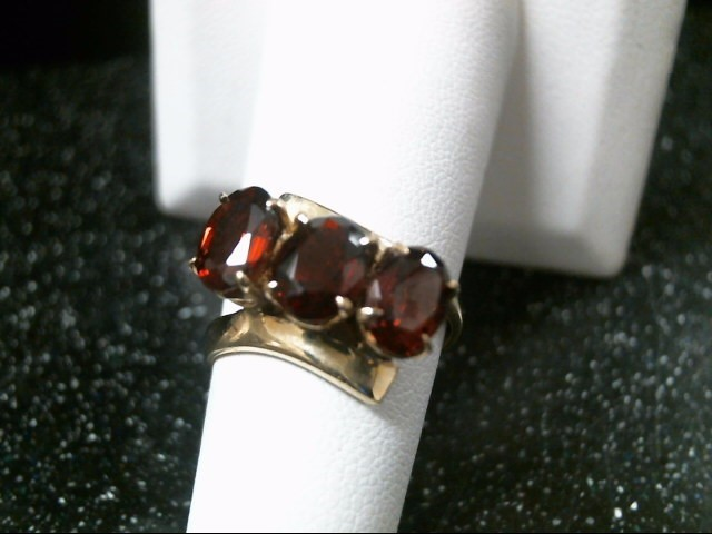 Red Stone Lady's Stone Ring 18K Yellow Gold 4.8g Size:7