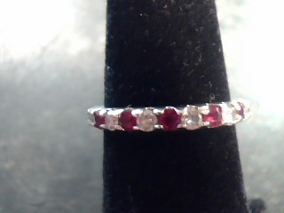 Synthetic Ruby Lady's Stone & Diamond Ring 8 Diamonds .40 Carat T.W.