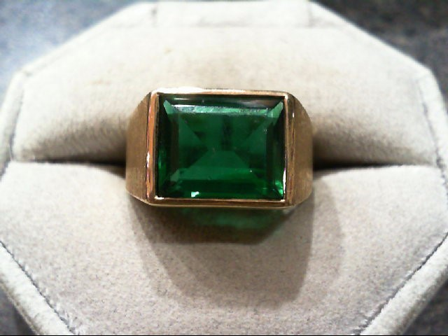 Green Stone Gent's Stone Ring 10K Yellow Gold 7g