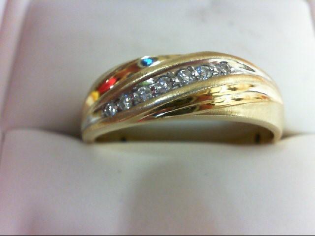 Gent's Gold-Diamond Wedding Band 7 Diamonds 0.2 Carat T.W. 10K Yellow Gold 4g Si