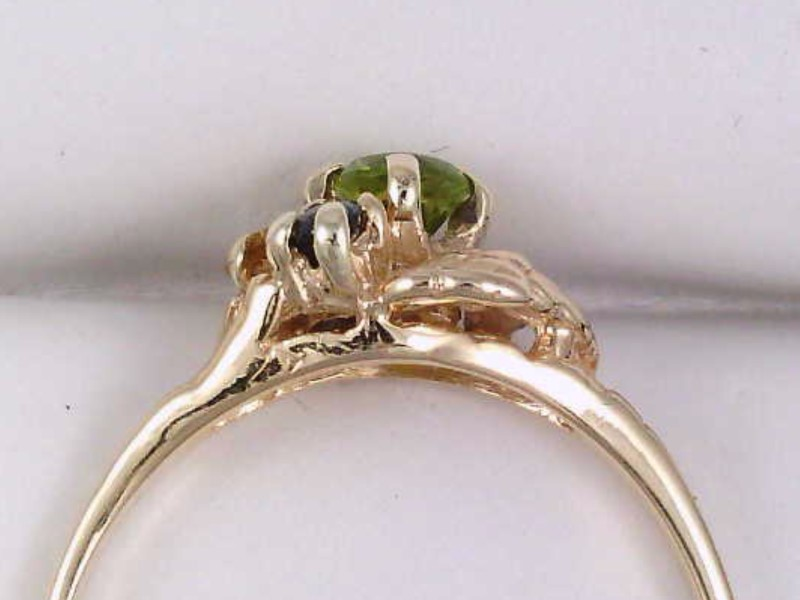 VINTAGE MULTI GEM RING SOLID REAL 14K GOLD BLUE YELLOW GREEN SIZE 8