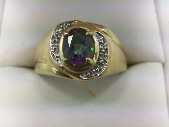 Synthetic Purple Stone Gent's Stone & Diamond Ring 2 Diamonds 0.02 Carat T.W. 10