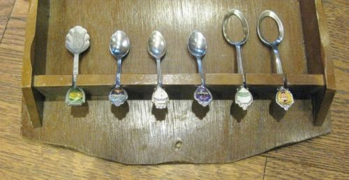 Vintage Mahogany Spoon Display & 18 Vintage Souvenir Spoons from Around the USA