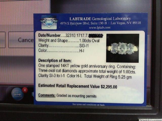 Lady's Diamond Wedding Band 3 Diamonds 1.00 Carat T.W. 14K Yellow Gold 5.25g