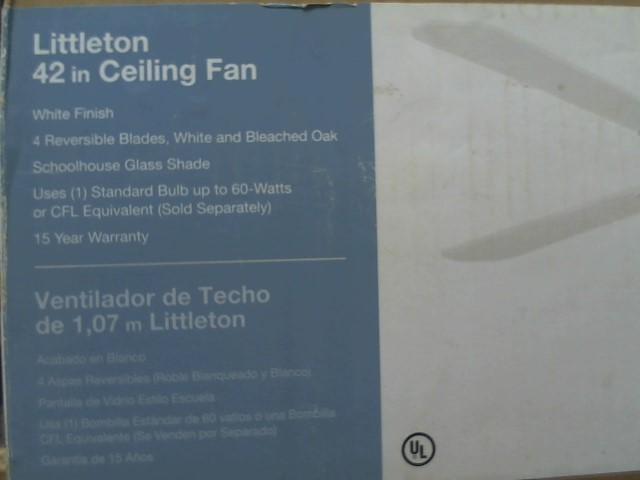 """LITTLETON Appliances 42"""" CEILING FAN"""