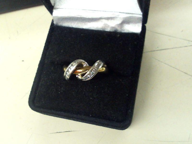 Lady's Diamond Fashion Ring 14 Diamonds .28 Carat T.W. 10K 2 Tone Gold 3.1g