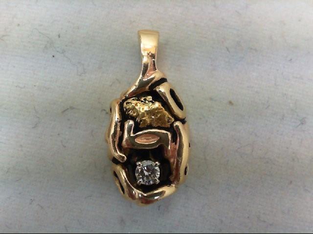 Gold-Diamond Solitaire Pendant .10 CT. 14K Yellow Gold 2.4g