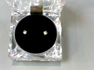 Gold-Diamond Earrings 2 Diamonds .32 Carat T.W. 14K Yellow Gold 0.4dwt