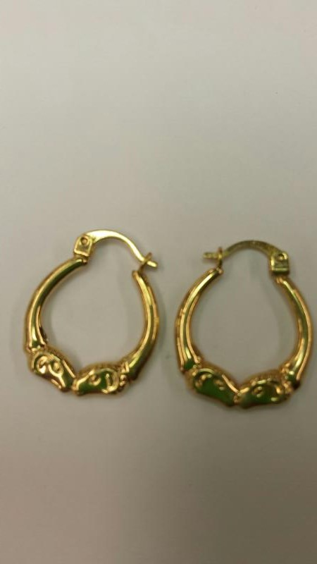 Gold Earrings 14K Yellow Gold 0.7dwt