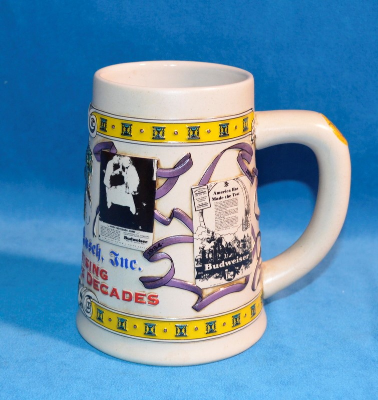 ANHEUSER-BUSCH ADVERTISING THROUGH THE DECADES BEER STEIN #10410 5th IN SERIES