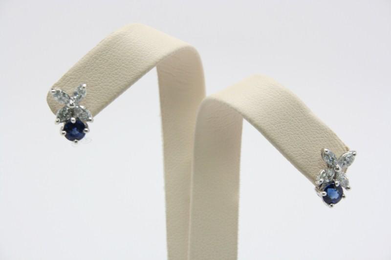 SAPPHIRE & DIAMOND EARRINGS 14K WHITE GOLD