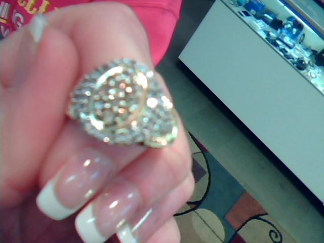 Lady's Diamond Cluster Ring 59 Diamonds 1.93 Carat T.W. 10K Yellow Gold 3.25dwt