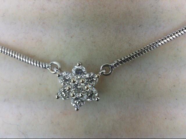 Gold-Multi-Diamond Pendant 7 Diamonds 0.49 Carat T.W. 14K White Gold 6.8g