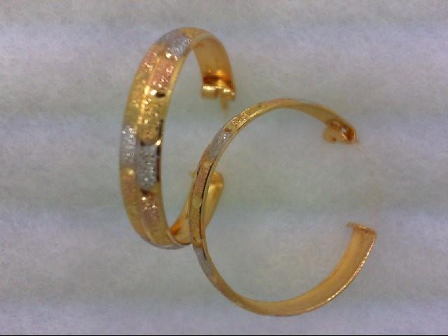 Gold Earrings 21K 2 Tone Gold 3.6g