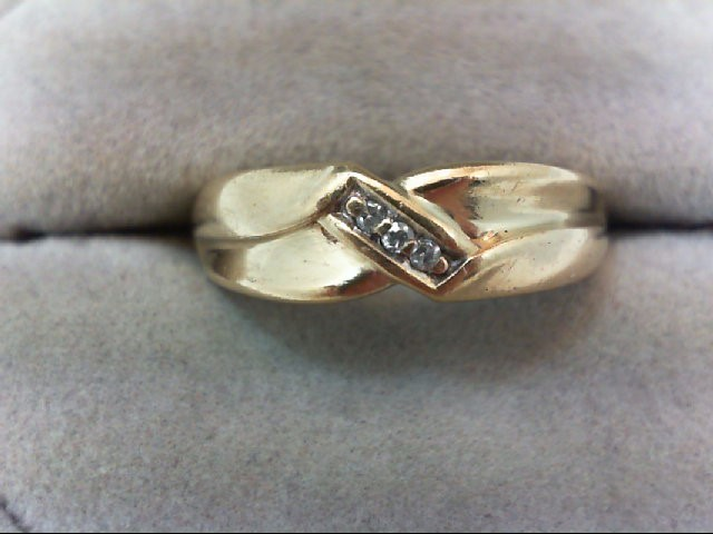 Gent's Gold-Diamond Wedding Band 3 Diamonds .03 Carat T.W. 10K Yellow Gold 4.2g