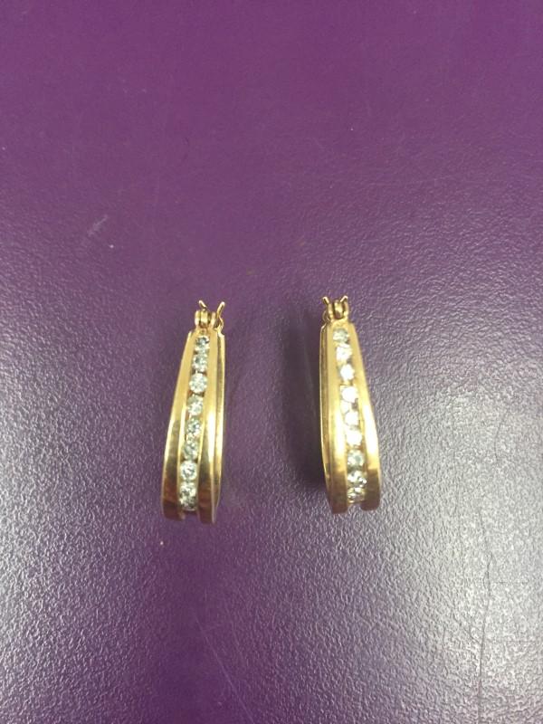 Gold-Diamond Earrings 18 Diamonds .54 Carat T.W. 14K Yellow Gold 5.5g