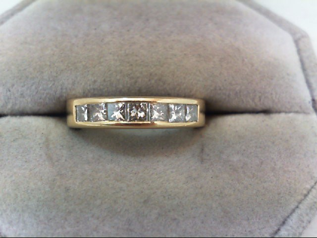 Lady's Diamond Wedding Band 7 Diamonds 1.05 Carat T.W. 14K Yellow Gold 4.5g