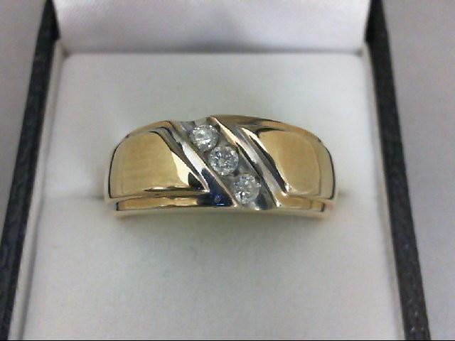 Gent's Gold-Diamond Wedding Band 3 Diamonds 0.24 Carat T.W. 10K Yellow Gold 6.2g