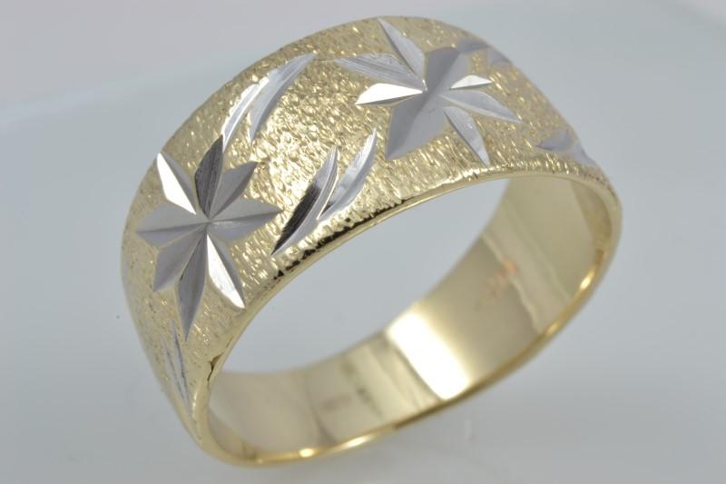 ESTATE STAR BURST RING BAND SOLID 14K YELLOW GOLD BRUSH SIZE 6.25