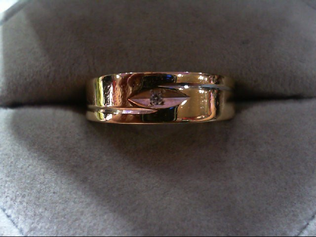 Gent's Gold-Diamond Wedding Band .02 CT. 14K Yellow Gold 4.2g