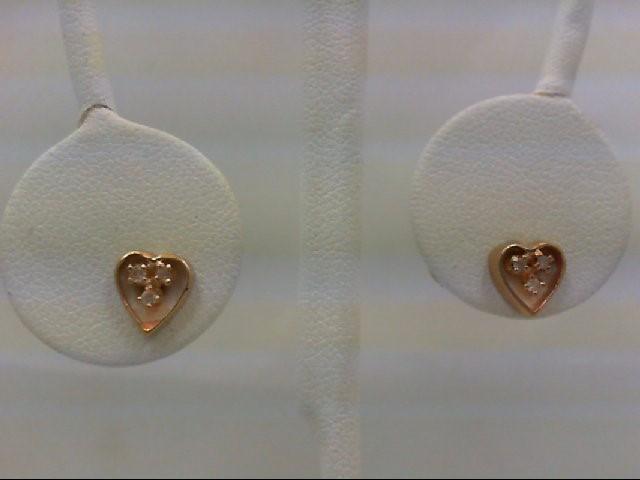 Gold-Diamond Earrings 6 Diamonds 0.06 Carat T.W. 14K Yellow Gold 1.1g