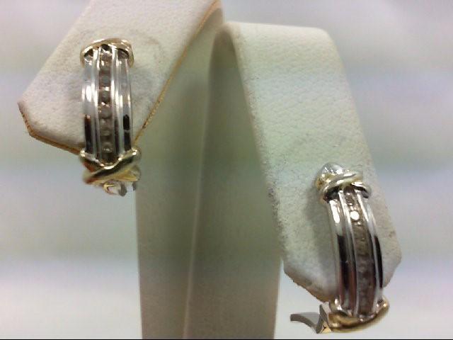 Silver-Diamond Earrings 14 Diamonds .14 Carat T.W. 925 Silver 4.6g