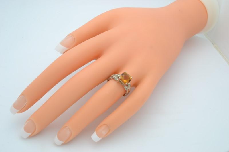 CITRINE ORANGE DIAMOND RING SOLID 14K WHITE GOLD CUSHION CUT SZ 7