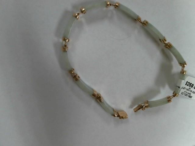 Synthetic Jade Gold-Stone Bracelet 10K Yellow Gold 3dwt