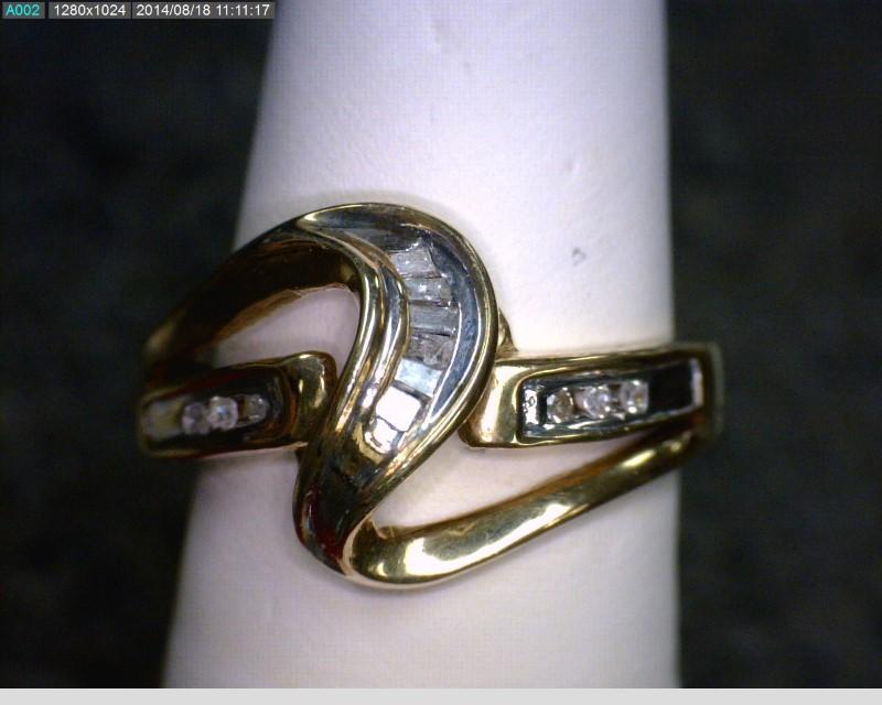 Lady's Diamond Cluster Ring 13 Diamonds .13 Carat T.W. 10K Yellow Gold 1.92dwt