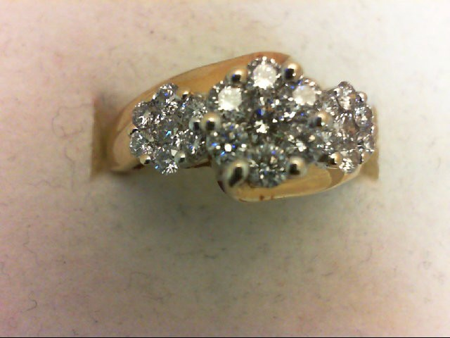 Lady's Diamond Cluster Ring 21 Diamonds .91 Carat T.W. 14K Yellow Gold 3.4g