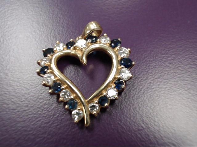 Sapphire Gold-Diamond & Stone Pendant 11 Diamonds .77 Carat T.W.
