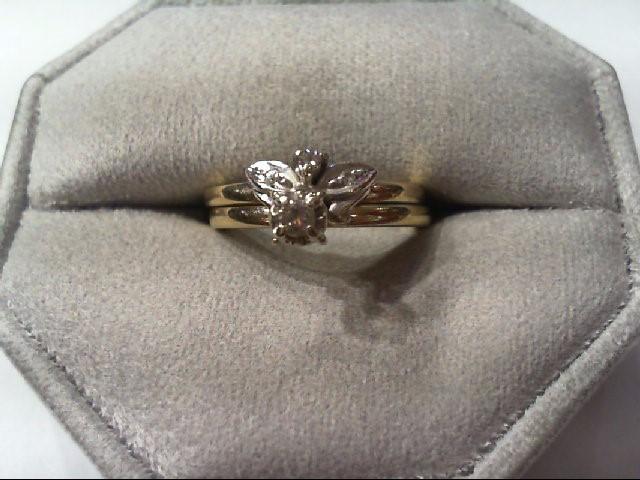 Lady's Diamond Wedding Set 2 Diamonds .10 Carat T.W. 14K 2 Tone Gold 4.5g