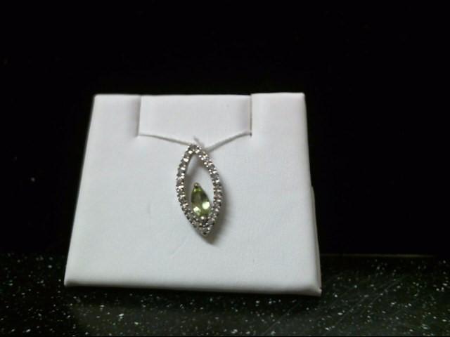 Green Stone Gold-Diamond & Stone Pendant 20 Diamonds .20 Carat T.W.