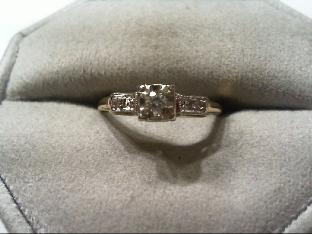 Lady's Diamond Engagement Ring 3 Diamonds .07 Carat T.W. 14K 2 Tone Gold 1.7g